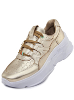 Tênis Couro Chunky Sneaker De Griffe Glace Metalic