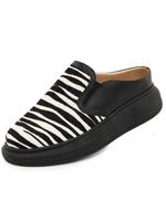 Mule Fem. DGrife Up Maia Couro Conf Pt Zebra