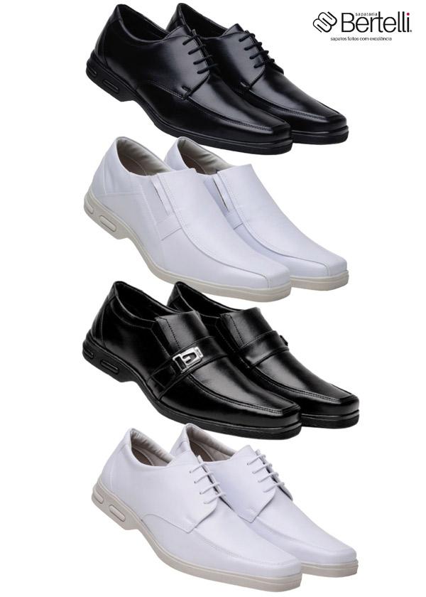 Kit 4 Pares Sapato Social Bertelli Branco Preto